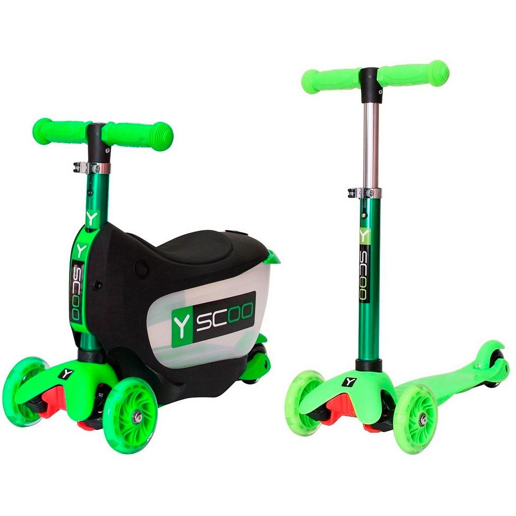 Каталка-самокат 3в1 Y-SCOO Mini Jump&amp;amp;Go со светящими колесами Green<br>