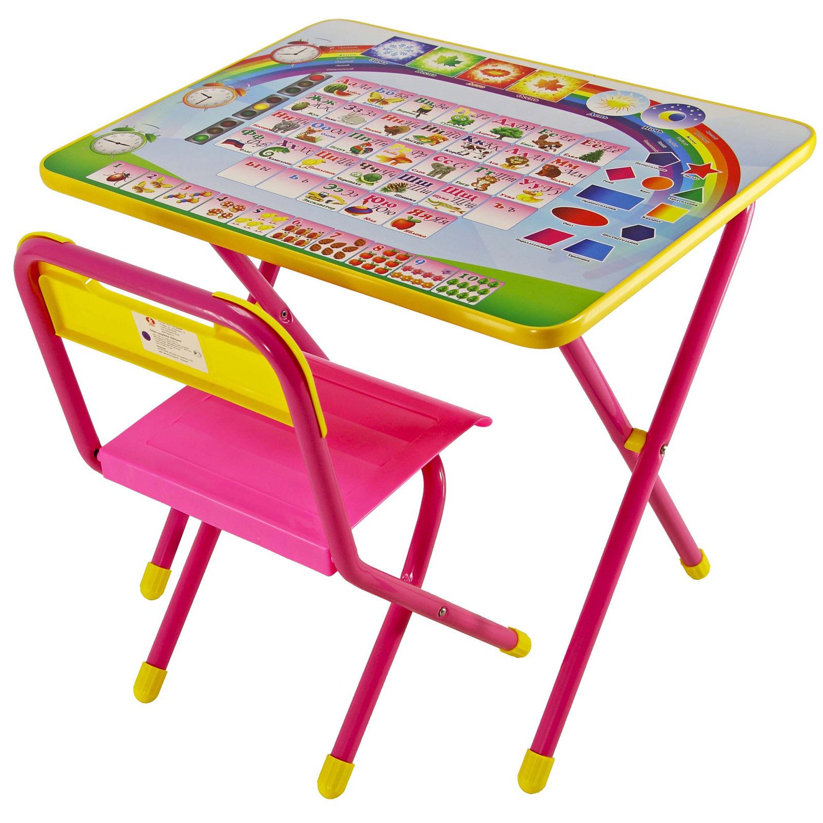 Набор мебели стол и стул Дэми №1 Розовый Алфавит<br>
