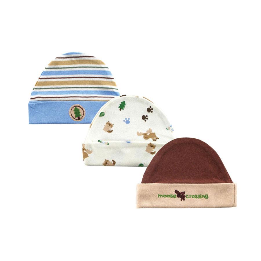 Комплект Hudson Baby Шапочки, 3 шт., цвет коричневый 0-6 мес. (55-67 см)