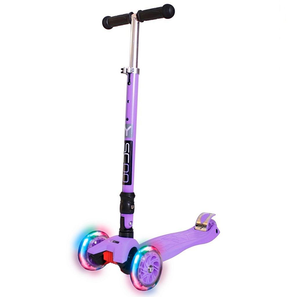 Самокат Y-SCOO 35 MAXI FIX Shine со светящими колесами Violet<br>