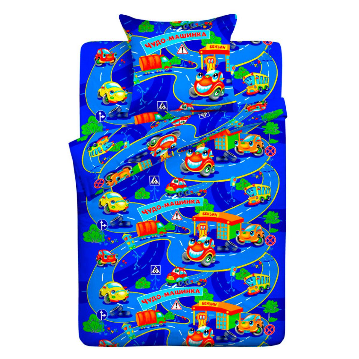 Комплект постельного белья детский Letto с наволочкой 50х70 Чудо-машинка<br>