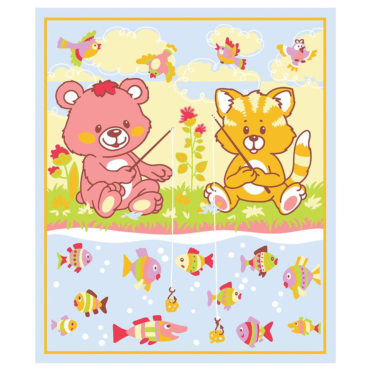 Одеяло Baby Nice байковое 100% хлопок 100х118 Рыбалка Голубой<br>