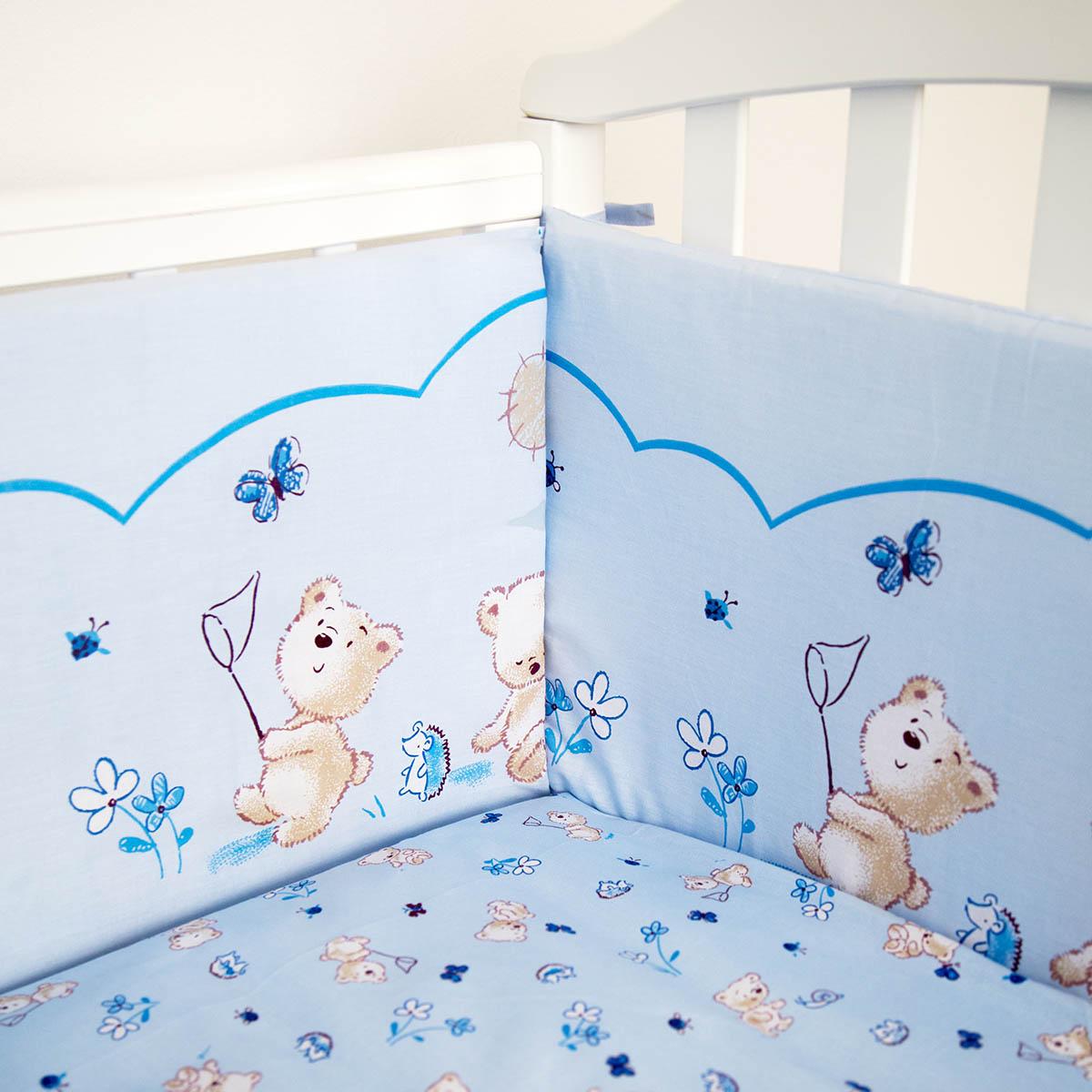 Борт в кроватку Споки Ноки Мишки (голубой)