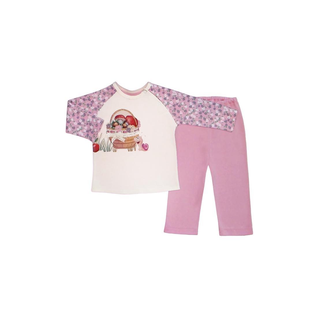 Комплект ясельный Бимоша: кофточка+ползунки, цвет молоко/розовый (146053) 12-18 мес.