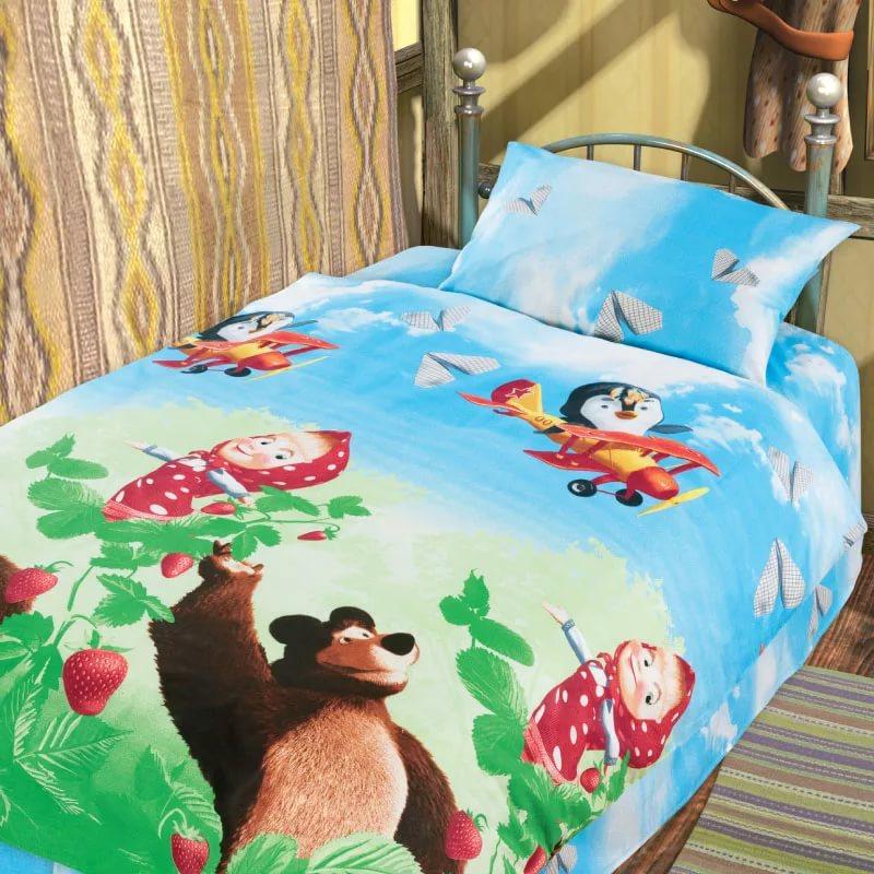 Комплект постельного белья детский хлопок Непоседа Маша и Медведь Друзья<br>