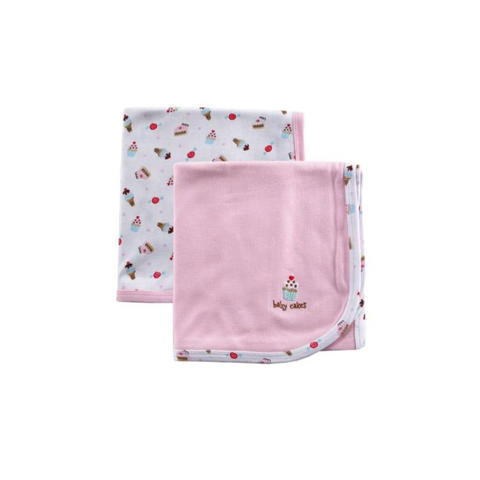 Комплект Luvable Friends Лавбл Фрэндс трикотажные пелёнки 2 шт. (76*101 см) Розовый