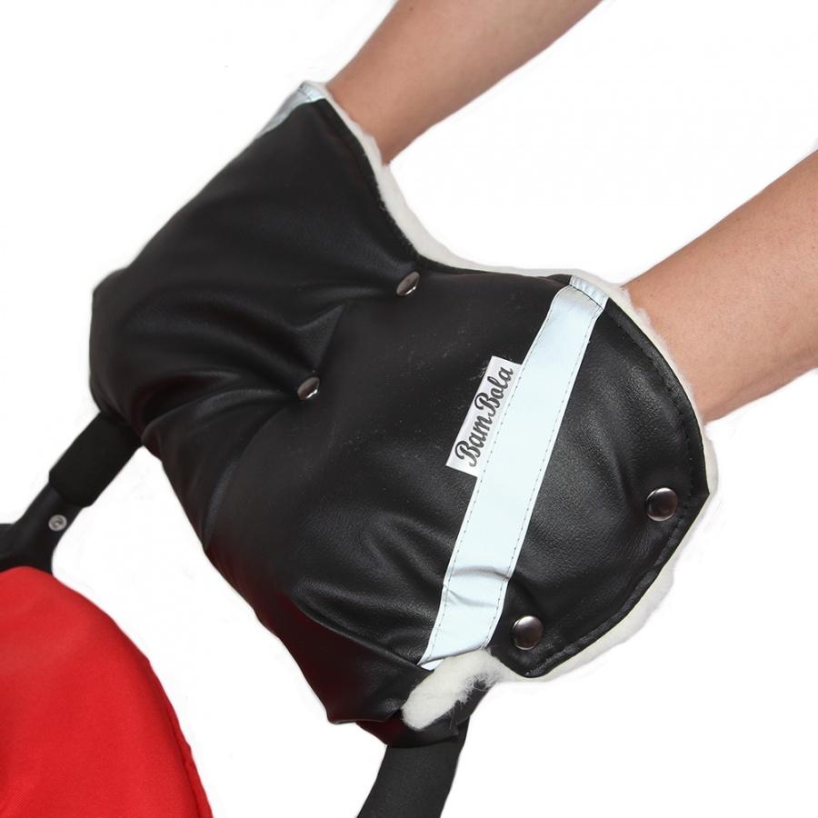 Муфта Bambola для коляски шерстяной мех плащевка кнопки Кожа Черный<br>
