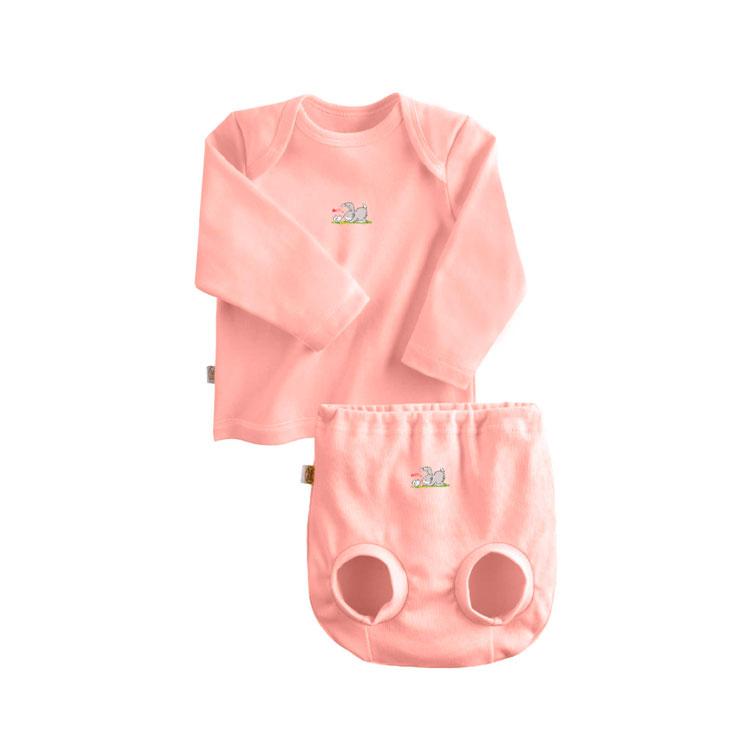 Комплект Наша Мама Be happy №3 (футболка, трусы на подгузник) рост 80 розовый<br>