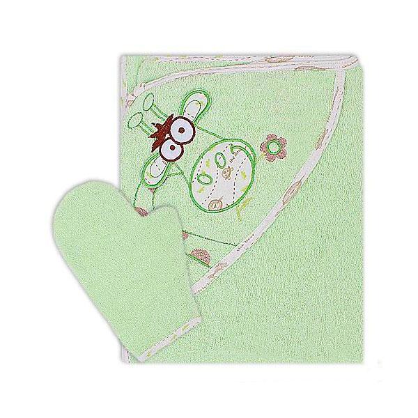 Полотенце-уголок Осьминожка Жираф с вышивкой махровое Салатовое<br>