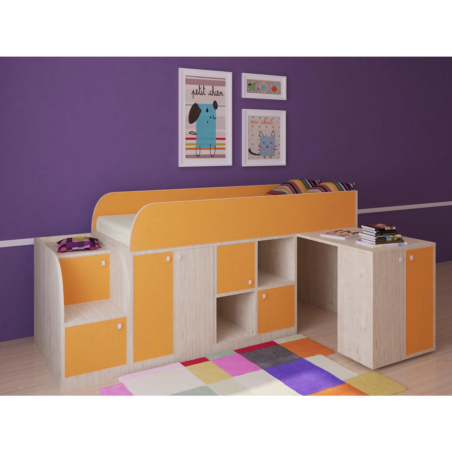 Набор мебели РВ-Мебель Астра мини Дуб молочный/Оранжевый<br>