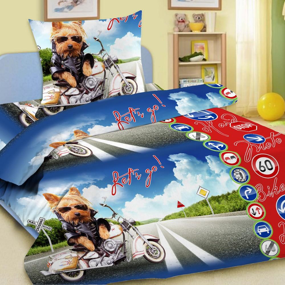 Комплект постельного белья детский Letto с наволочкой 50х70 Супербайк