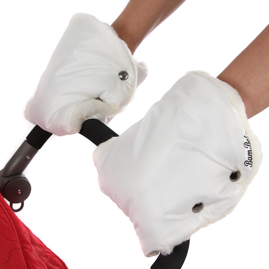 Муфта-варежки Bambola для коляски шерстяной мех плащевка Лайт Белый<br>