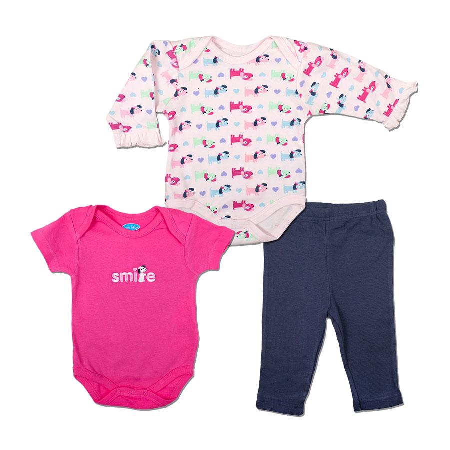 Комплект Bon Bebe Бон Бебе для девочки: боди 2 шт. + леггинсы, цвет розовый - тёмно-серый 3-6 мес. (61-66 см)