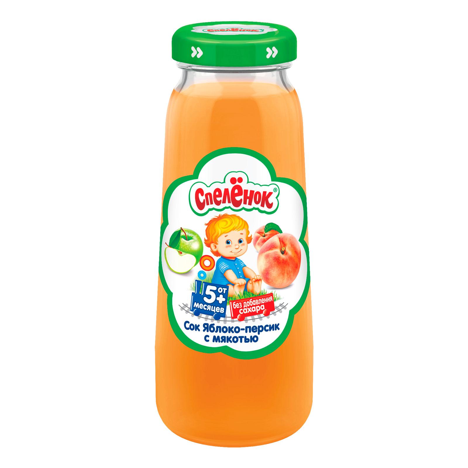 Сок Спеленок 200 мл (стекло) Яблоко персик с мякотью (с 5 мес)