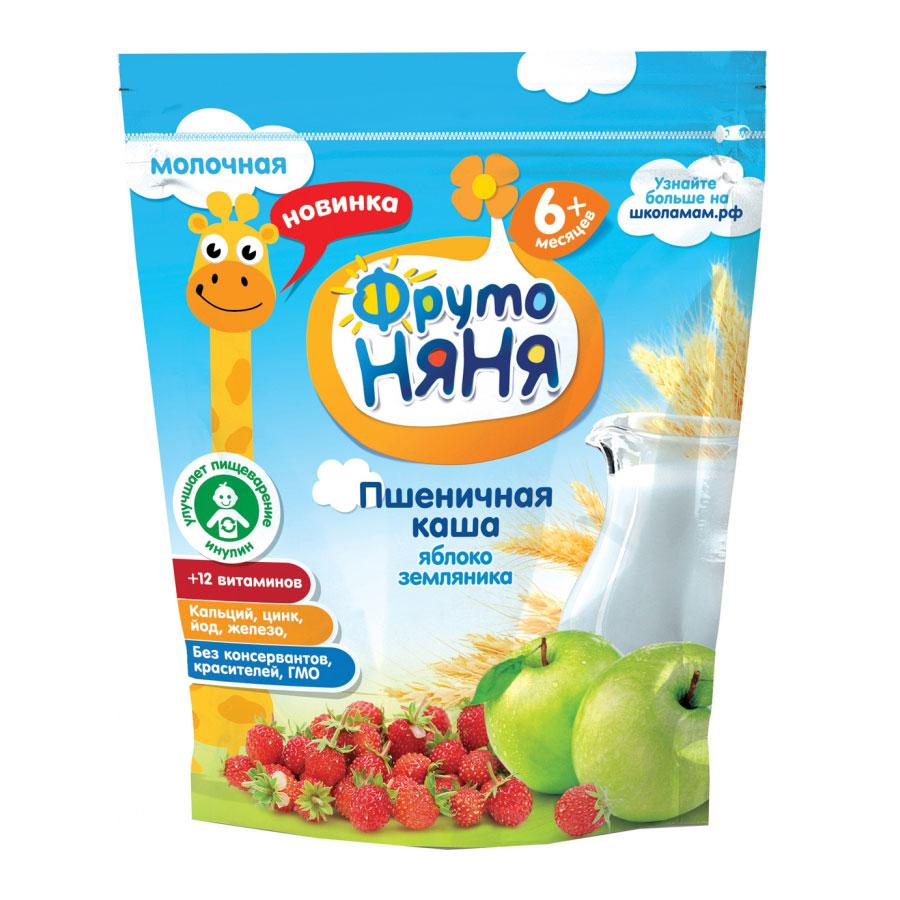 Каша Фрутоняня молочная 200 гр Пшеничная с яблоком и земляникой (с 6 мес) пауч<br>