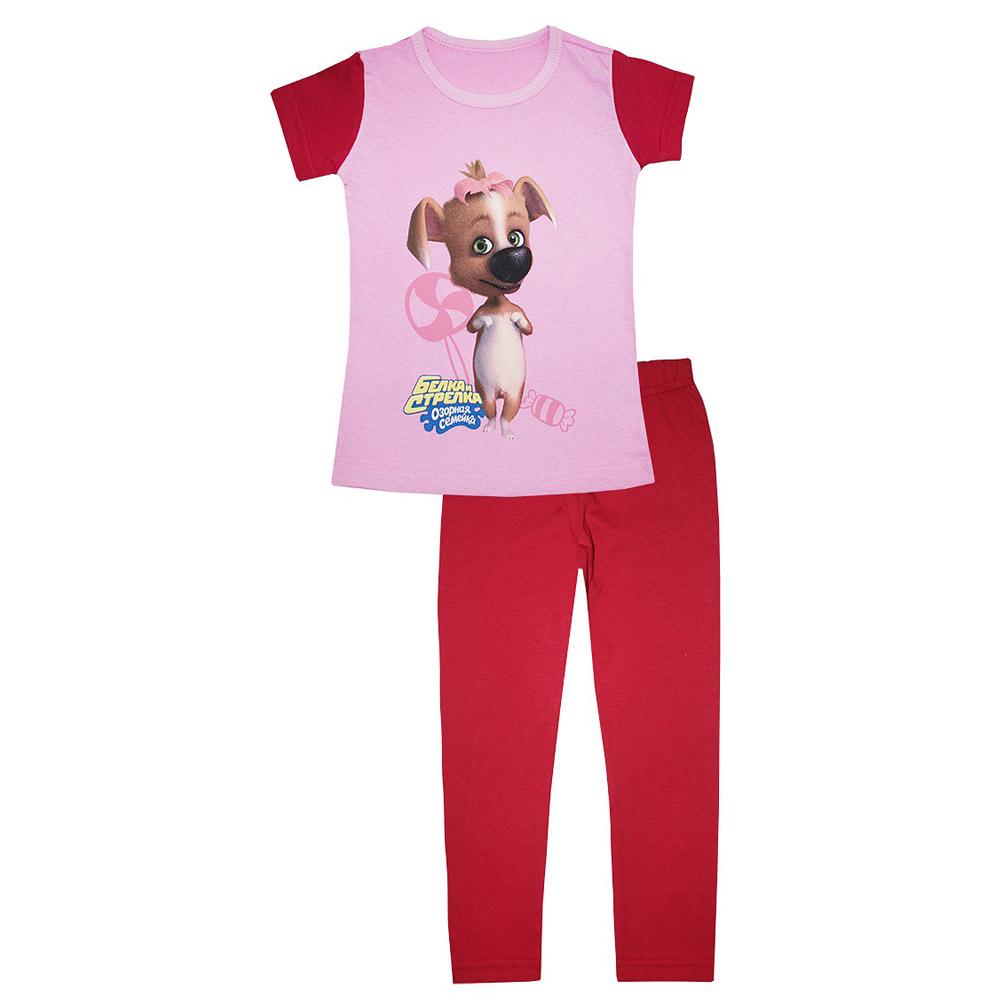 Пижама Котмаркот Озорная семейка-Белка и Стрелка (Дина) с коротким рукавом рост 98 малиновый<br>