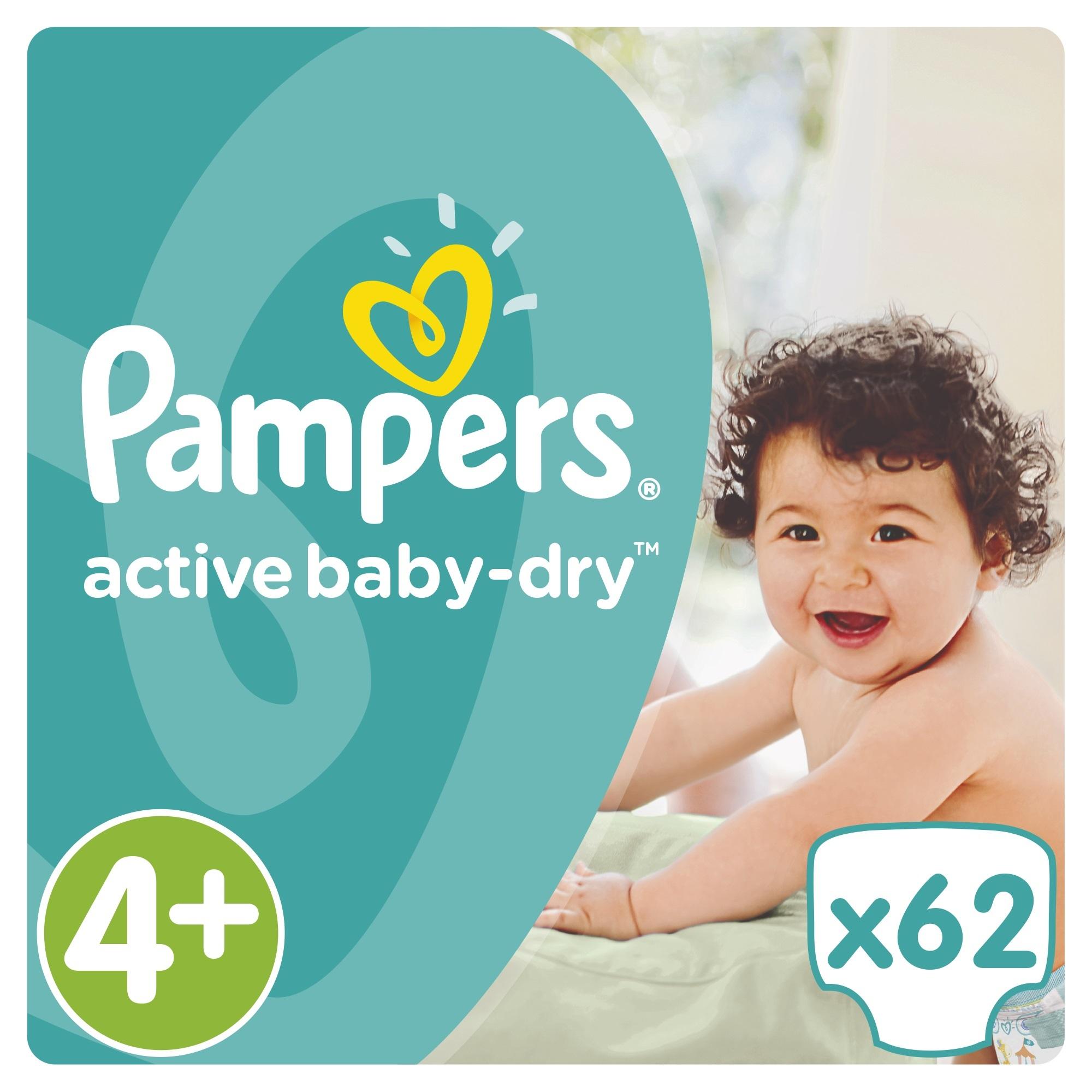 Подгузники Pampers Active Baby Maxi+ 9-16 кг (62 шт) Размер 4+<br>