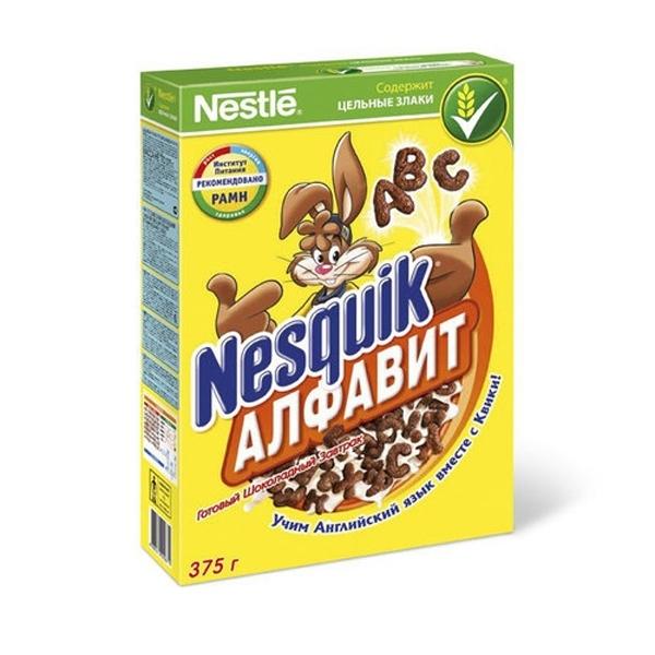 Готовые завтраки Nestle 375 гр. Nesquik Несквик  АБВ (молочно-шоколадные)<br>