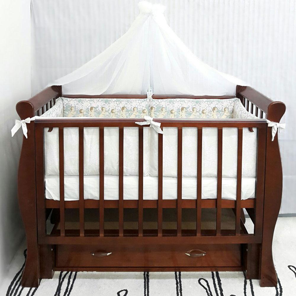 Кроватка ByTwinz Венеция-1 универсальный маятник с ящиком Темный орех<br>