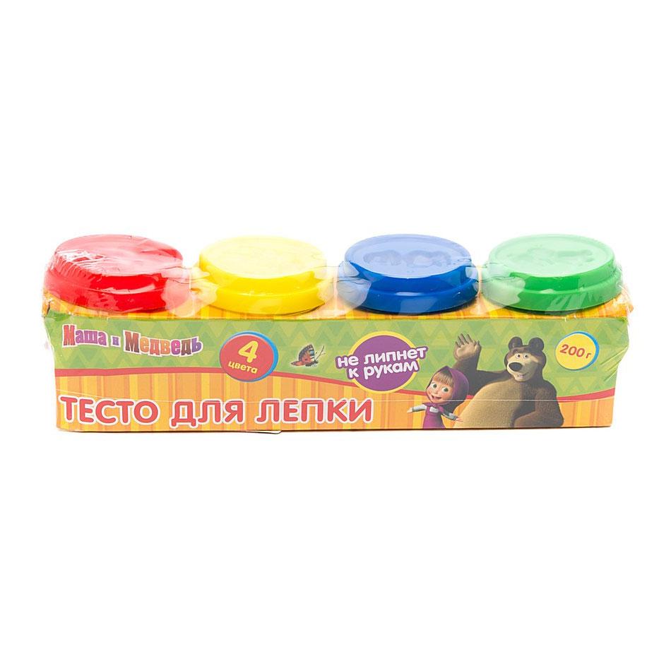Набор Multiart Тесто для лепки Маша и медведь 4 цвета х 50 грамм и формочки<br>
