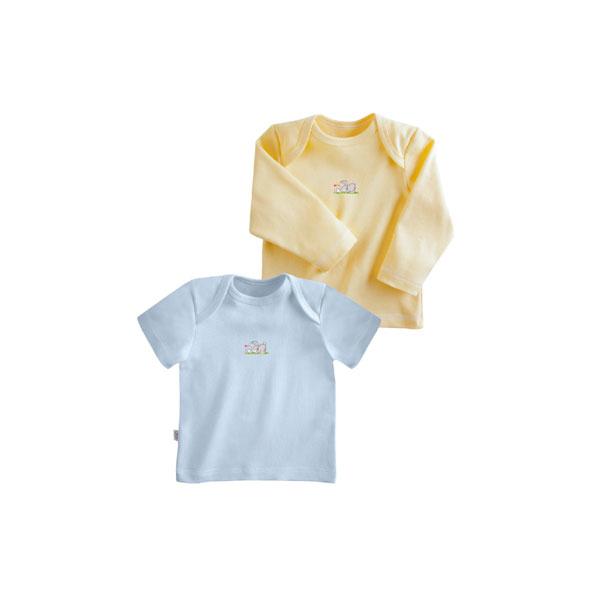 Комплект Наша Мама Be happy футболки (2 шт) рост 80 голубой, желтый<br>