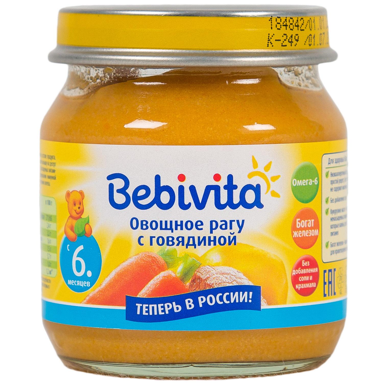 Пюре Bebivita овощное рагу 100 гр С говядиной (с 6 мес)<br>