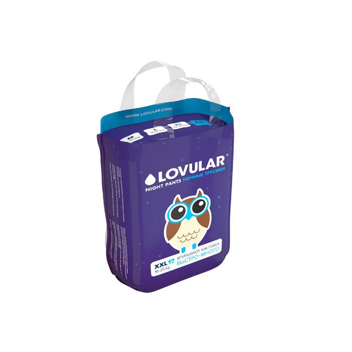 Трусики-подгузники LOVULAR ночные 15-25 кг 17 штук (XXL)<br>