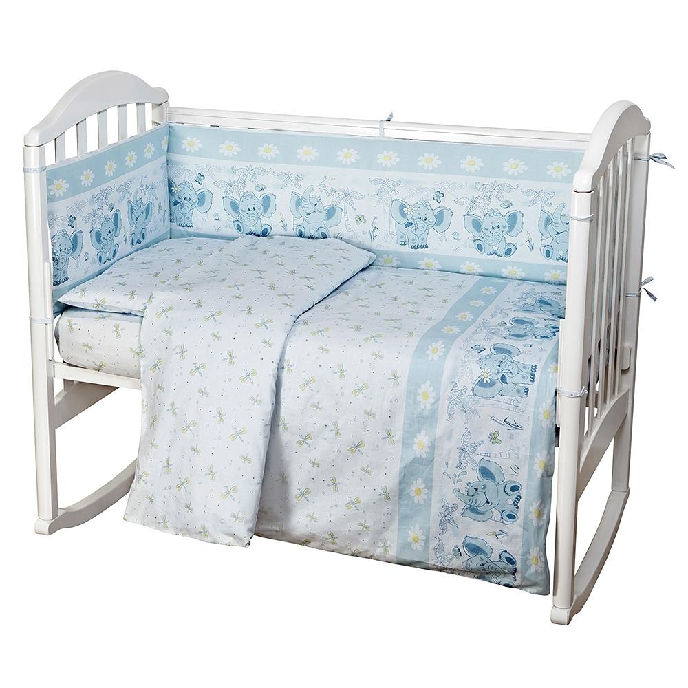 Комплект в кроватку Споки Ноки 6 предметов Слоники (голубой, бежевый, розовый)<br>