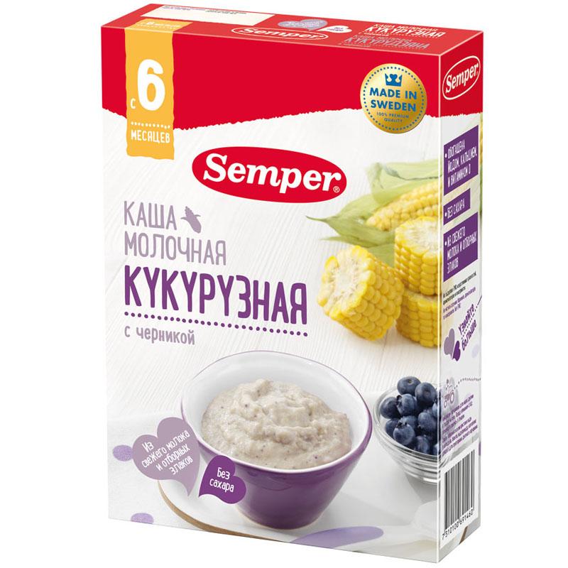 Каша Semper молочная 200 гр Кукурузная с черникой (с 6 мес)<br>