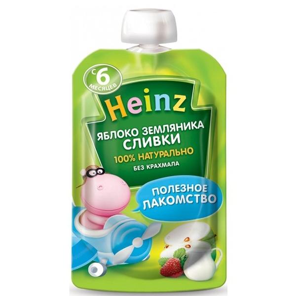 Пюре Heinz фруктовое со сливками 90 гр Яблоко земляника с 6 мес<br>