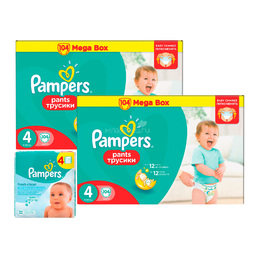 Набор Pampers №2 Трусики Pampers Pants 4 + салфетки