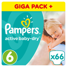 Подгузники Pampers Active Baby Extra Large 15+ кг (66 шт) Размер 6