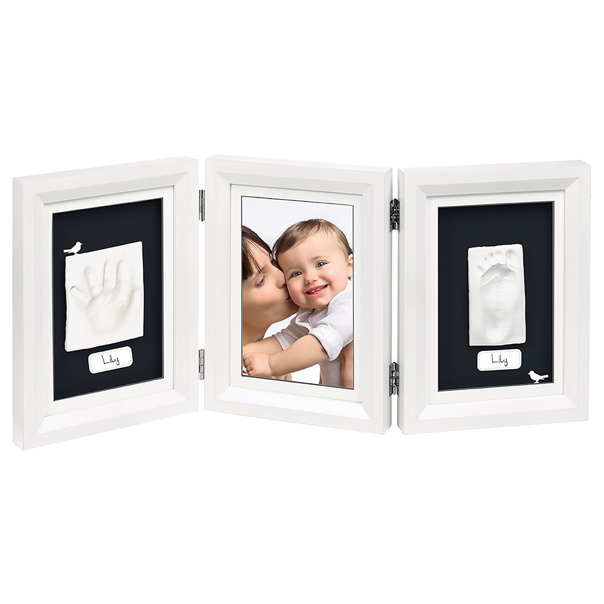 Рамочка Baby Art Double Print Frame (тройная) Белая (подложка черная)