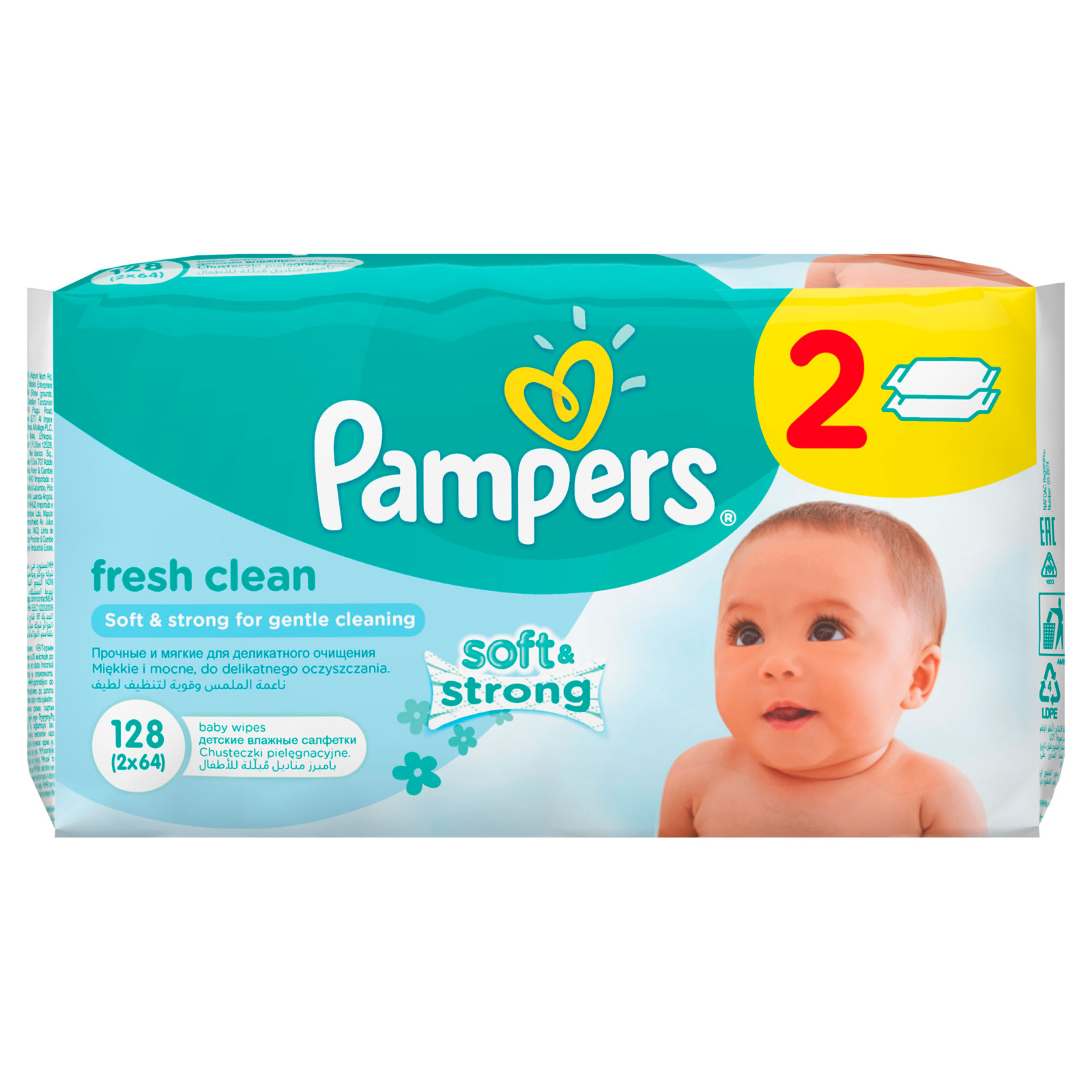 Салфетки влажные Pampers Baby Fresh Clean с алоэ (запасной блок 64 шт х 2) 128 шт от Младенец.ru