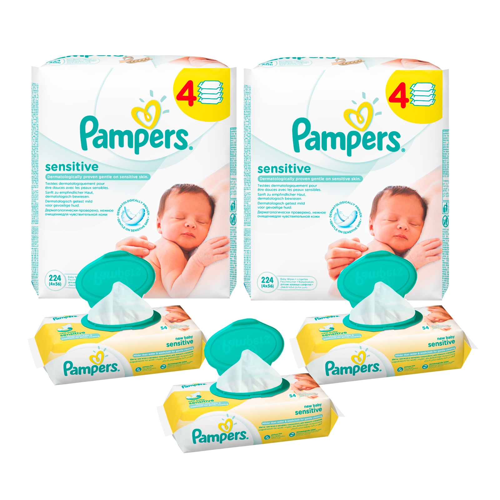 Фотография товара набор Pampers №13 Салфетки Pampers New baby + Sensitive (238705)