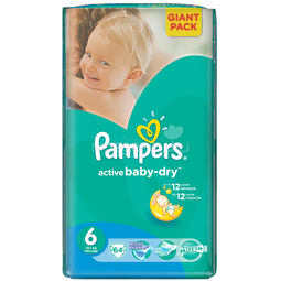 Подгузники Pampers Active Baby Extra Large 15+ кг (64 шт) Размер 6