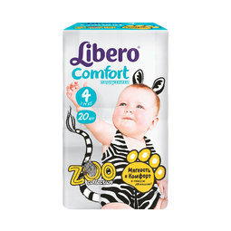 Подгузники Libero Comfort Zoo Collection Size 4 (7-14кг) 20 шт