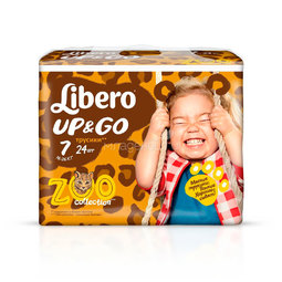 Трусики Libero Up&Go Zoo Collection Size 7 (16-26кг) 24 шт