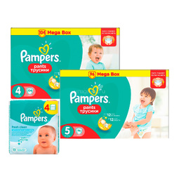 Набор Pampers №1 Трусики Pampers Pants 4-5 + салфетки