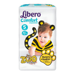 Подгузники Libero Comfort Zoo Collection Size 5 (10-16кг) 72 шт