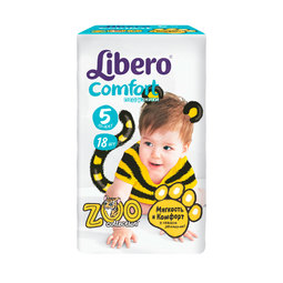 Подгузники Libero Comfort Zoo Collection Size 5 (10-16кг) 18 шт