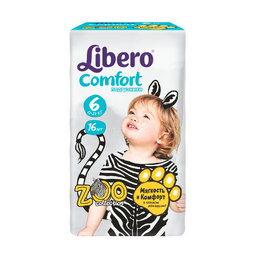 Подгузники Libero Comfort Zoo Collection Size 6 (12-22кг) 16 шт